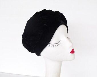 Velour Ladies Flapper Hat Vintage 1930s Cloche Union Made