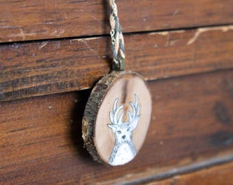 Rustic Deer Necklace - Unique braided chain
