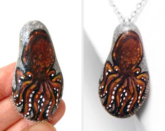 Octopus Necklace, Tentacle Pendant, Animal Painting, Hand Painted Pebble Art, Beach Stone, Nautical Gift for Her, Aquarium Pet Keepsake