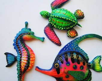 Fish seahorse turtle wall decor