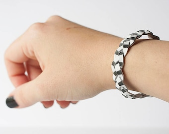 Braided Leather Bracelet / Stripes