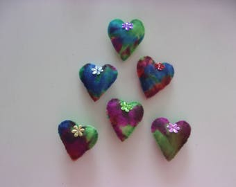 Set of 6 Handmade Felt Magnets TIE DYE HEART 2x2""