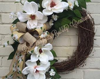 Magnolia Grapevine Wreath, Magnolia Wreath, Magnolia & Cherry Blossom Wreath, Everyday Wreath