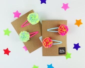 Neon pompom Hair clips