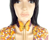 HUZZAR DESIGN Beautiful Butterfly Flutter Suede Choker With Eyelet Fastening Made to order