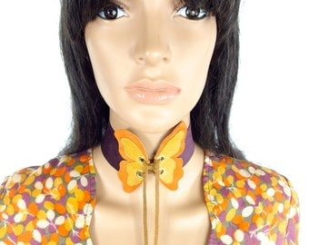 LAST ONE Huzzar Design Beautiful Butterfly Flutter Suede Choker With Eyelet Fastening Made to order