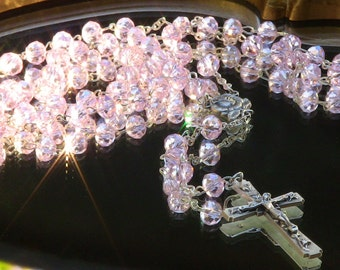 Pink Rosary with Silver Crucifix Jewelry Christmas Gift Handmade Italian