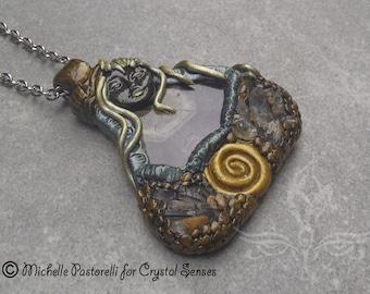 "Fairy Amethyst Gemstone Pendant Necklace 22"" - Fae Arina"