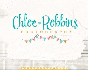Sewing bunting logo premade logo photography