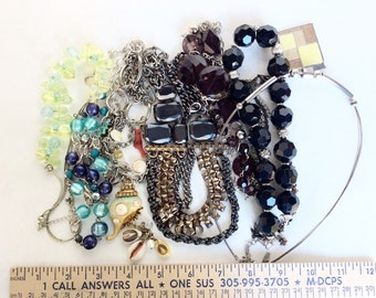 Junk lot Vintage necklaces for chains beads repurposing reuse recycle beads for crafts and Assemblage