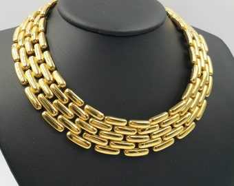 Vintage Signed Givenchy Gold Tone Link Choker Necklace Wide Width Collar Style