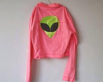 Pink Glitter Alien Abduction Denim Jacket