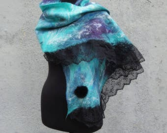 "Madame de Pompadour"", soft extra thin wet felted wool shawl, warm and cozy unique one-of-a-kind hand felted winter garment, art to wear"