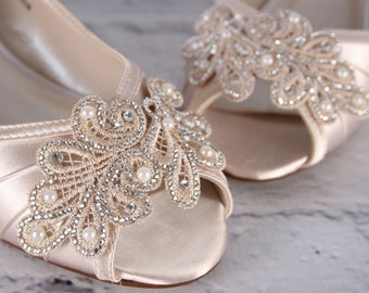 Wedding Shoes, Ivory Wedding Shoes, Wedges, Wedge Wedding Shoes, Lace Wedding Shoes, Wedding Bling, Wedding Shoe Bling, Custom Wedding Shoes