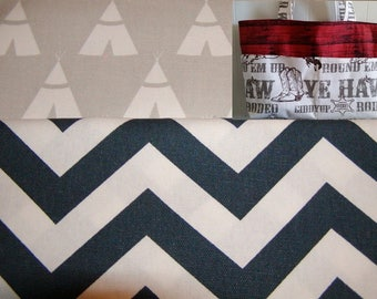 Diaper bag, handbag, purse, book bag..Teepee N Navy Chevron with Name..Choose a Font. Match your carseat canopy(see fashionfairytales).