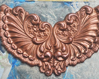 Neo Victorian fan ornaments, brass stamping,  Caramel Patina