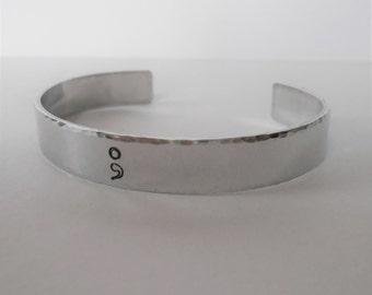 semi colon hand stamped cuff, hidden message aluminium cuff bracelet, semicolon jewellery, mens womens cuff, gift for him her