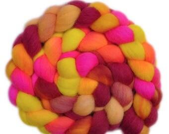 Hand Dyed roving - Cheviot wool spinning fiber - 4.1 ounces - Wild Lipstick 1