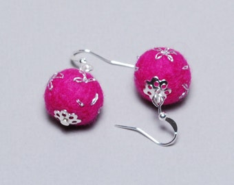 Felt Earrings - Felt Ball Earrings - Unique Earrings - Unique Gift - Mothers Day Gift - Silver Plated Earrings - Pink Embroidered Earrings