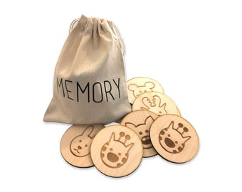Memory game, make a match, with animal faces 24 pieces laser cut and engraved, kids game, I love memory
