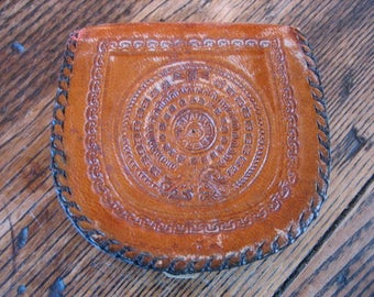 Tooled Leather Change Purse Made in Mexico 1960s Mayan Calendar