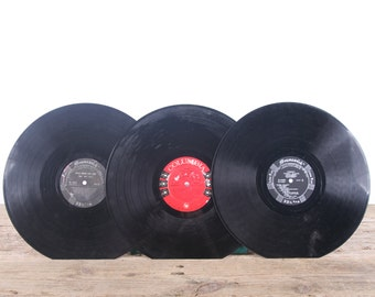 3 Vintage 33 1/3 Records / Black Vinyl Records / Antique Vinyl Records Decorations / Old Records Columbia Brunswick /Retro Music Party Decor