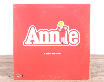 Vintage 1977 Annie Musical Record / Antique Vinyl Records / Old Records Music Party Decor / Rock Country Pop