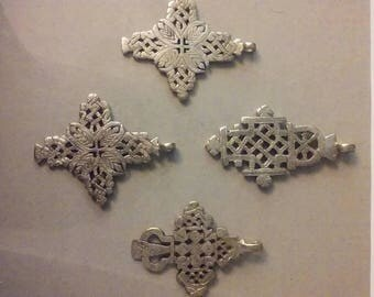 Ethiopian Coptic Crosses (4) jewelry making, pendants, Rasta Culture (ec005)