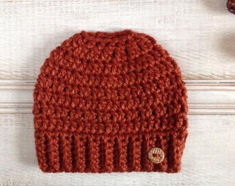 MADE TO ORDER Bun Beanie in Burnt Orange Chunky Crochet Ponytail Hat Winter Hat Neutral Messy Bun Hat Trendy Gift for Her