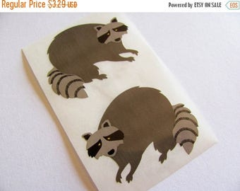SALE Rare Vintage Mrs Grossman Raccoon Stickers - Two Raccoons Masked Bandit Crafty Critter Mask Scrapbook Collage