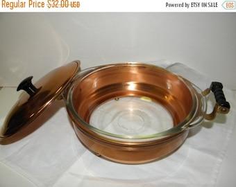 SALE Vintage Copper Casserole Set