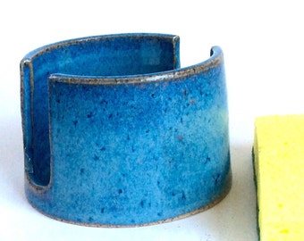 Pottery Sponge Holder, Blue Ceramic Sponge Tray, Handmade, Ready to Ship, Lauren Bausch Pottery