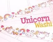 Unicorns washi tape, rainbows, stars, clouds, cute, kawaii, planner, craft, scrapbooking, journal, bujo, unicorn masking tape, paper tape
