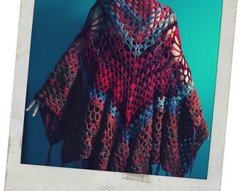 Crochet Shawl,Knit Shawl,Wrap,Cape,Poncho,Coat,Hippie Clothes,Boho Chic,Gypsy Clothing,Womens Clothing,One Size,Orange,Red,Purple,Fringe