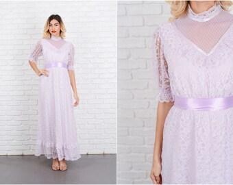 Vintage 70s Purple Boho Hippie Victorian Dress Lace Puff Sleeve Maxi S 8573