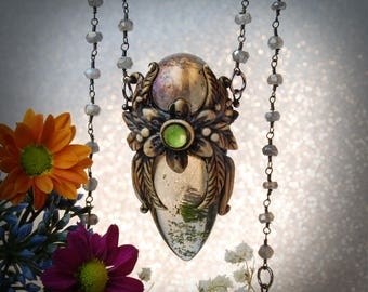 Spring Drop smokey Landscape Garden Quartz Boho Labradorite Beaded necklace