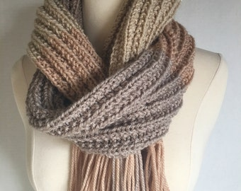 Hand Knitted Extra Long Ribbed Scarf Multi Shades of Beige