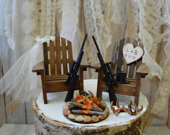 deer hunting gun wedding cake topper hunting bride groom shot gun antler buck doe camouflage themed country weapon the hunt is over wedding