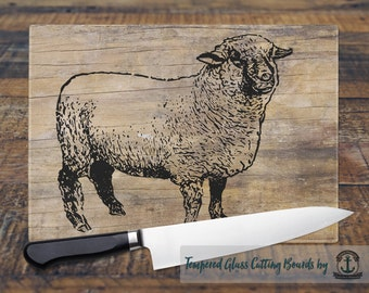 Glass Cutting Board - Sheep | Farmhouse Chic | Small or Large Kitchen Art for Your Countertop