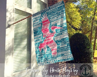 Custom House Flag | Any City or State Any Colors - You Choose | Garden or Large House Flag | Size via Dropdown | Convo for Custom