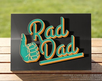 Father's Day Card: Rad Dad Thumbs Up Greeting Card | A7 5x7 Folded - Blank Inside - Wholesale Available