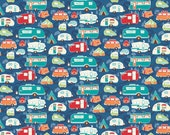 Road Trailers and Campers on Blue from Riley Blake's Road Trip Collection by Kelli Panacci