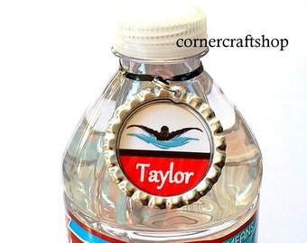 1 Personalized Name Swimmer Swim Team Silver Bottle Cap Water Bottle Charm, Drink tag, Sports Bottle Label, Team Gifts 15 colors to choose