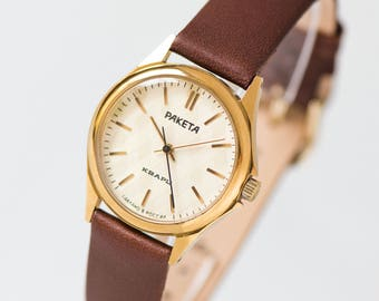 Quartz wrist watch Rocket, womens watch quartz, watch gold plated, rhombus pattern watch gift,  modern lady watch, premium leather strap new