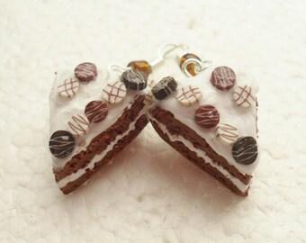 Chocolate Cake Earrings. Polymer Clay.
