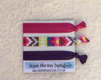 Elastic Hair Ties - Magenta Aztec Collection