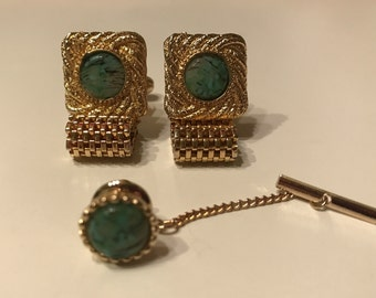 Vintage Cufflinks with Green Marbleized Stone with Tie Pin