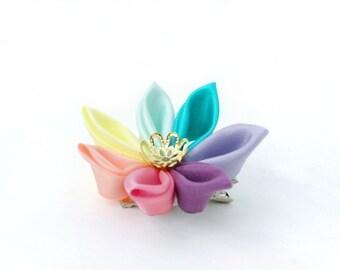 Rainbow Hair Clip - Bridesmaids Hair Flower -  Kawaii Rainbow Wedding - Flower Hair Clip - Rainbow Kanzashi Flower - Pastel Rainbow Flower