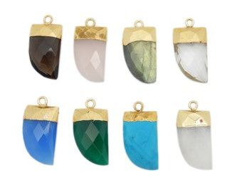 Petite Gemstone Horn Pendant with Electroplated 24k Gold Cap and Bail (S114B12)