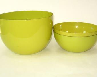 Finel Finland Chartreuse Green Enamel Mixing Serving Nesting Bowl Set of 3 Kaj Franck